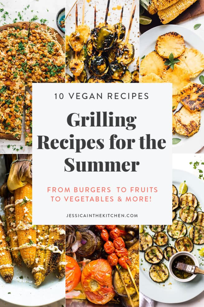 image of 6 photos of grilled recipes with text