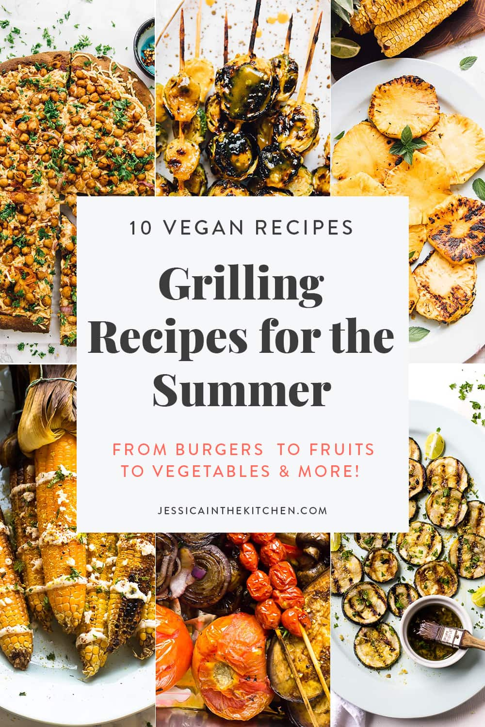 Image of 6 photos of grilled recipes with text.