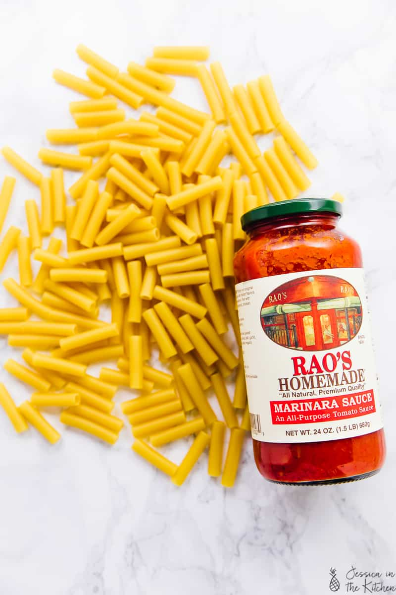 photo of dry ziti pasta with a bottle of Rao's Homemade tomato sauce