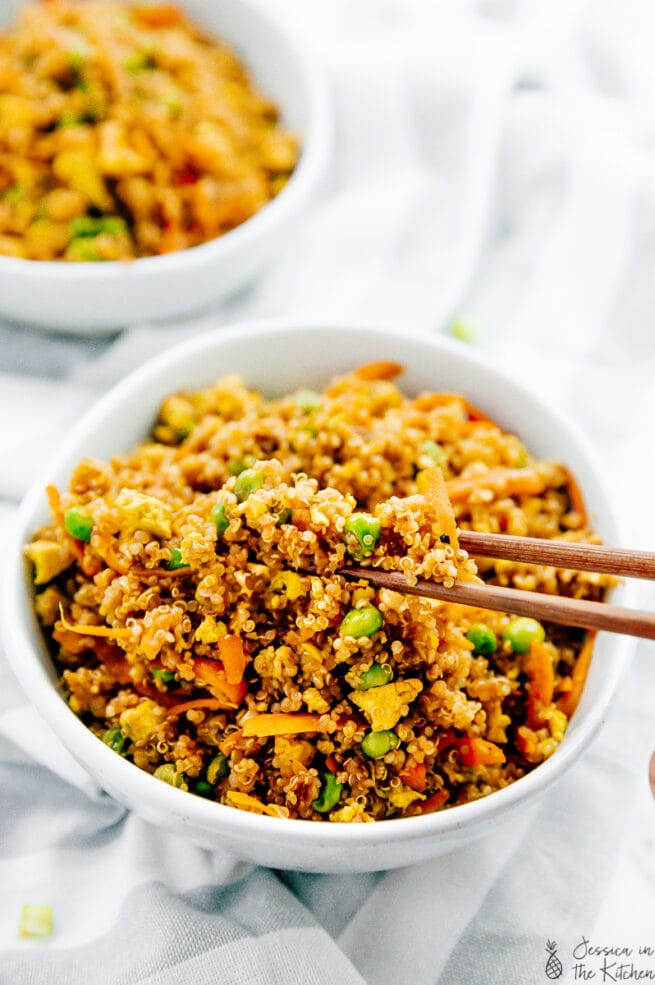 vegan quinoa fried rice in a chopstick