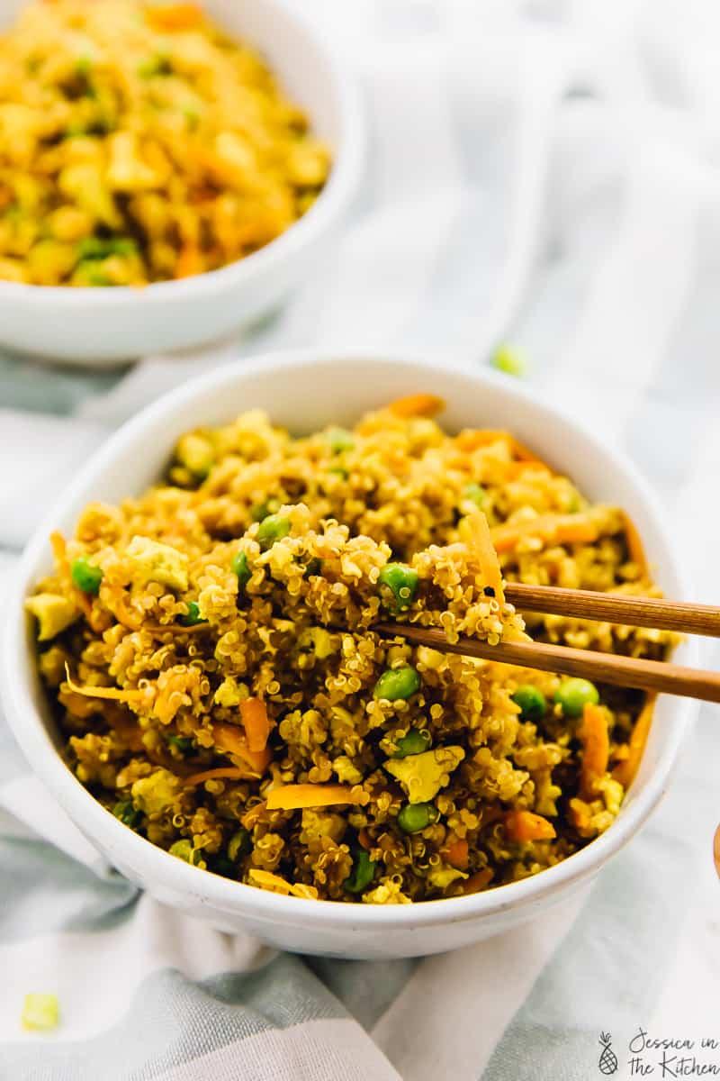 vegan quinoa fried rice in a chopstick