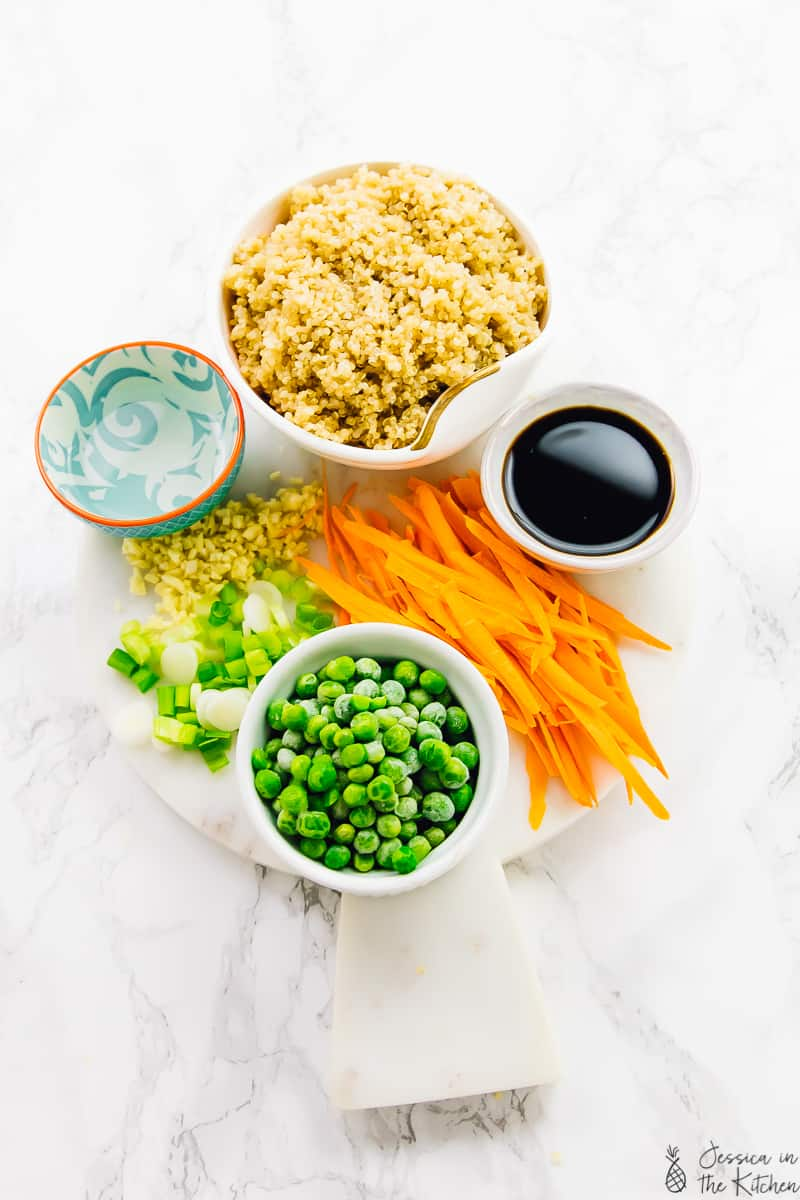 ingredients to a vegan quinoa fried rice