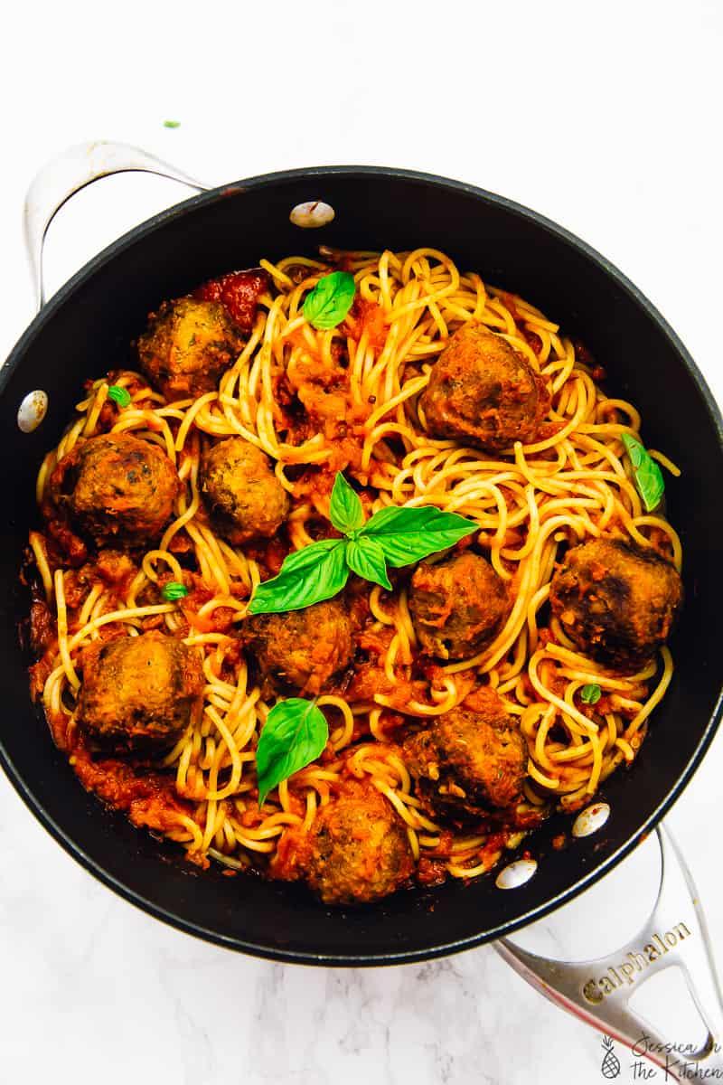 vegan spaghetti and meatballs in a pot flatlay shot