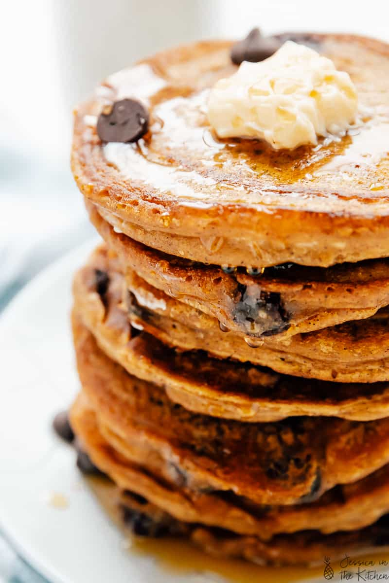 A stack of vegan pancakes on a plate.