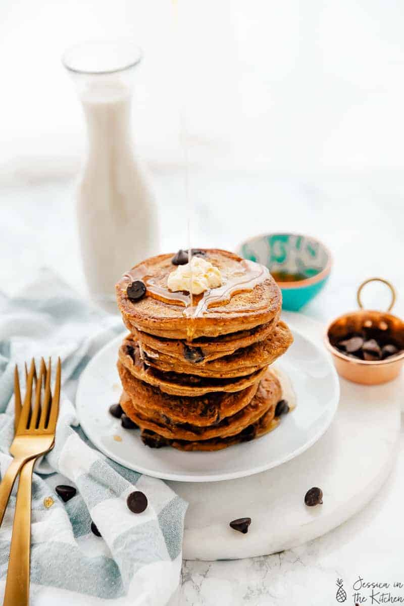 Pumpkin Chocolate Chip Pancakes (Vegan)