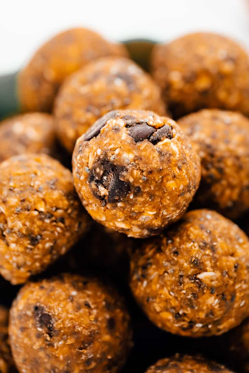 Close up of a batch of energy bites.