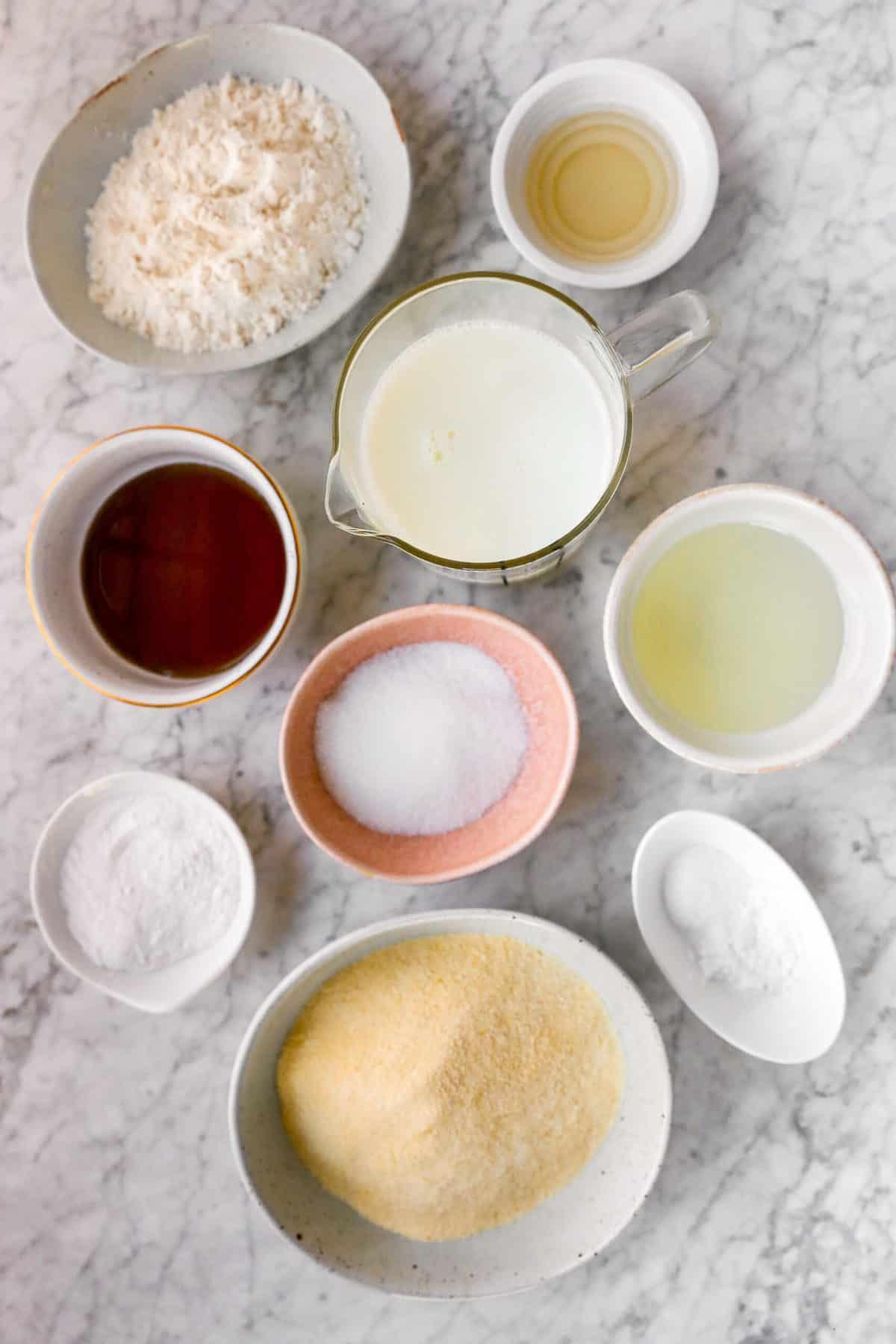 Ingredients for vegan cornbread.