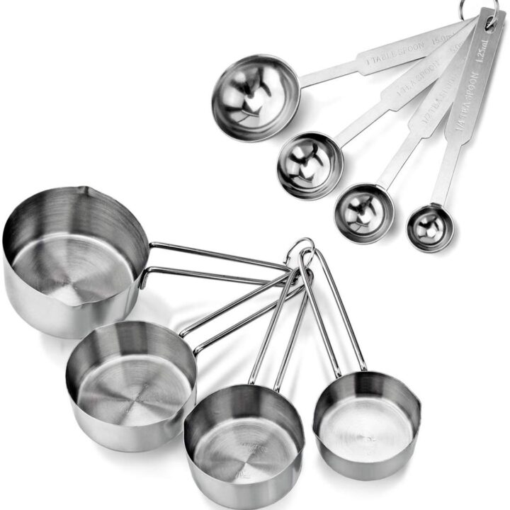 Stainless Steel Measuring Spoons and Cups Combo, Set of 8, Silver