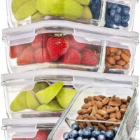 Prep Naturals Glass Meal Prep Containers Glass 2 Compartment 5 Pack