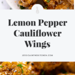 These Lemon Pepper Cauliflower Wings are absolutely divine veggie wings! They're coated in a sweet and spicy lemon peppery sauce and are the perfect game day snack for vegans!