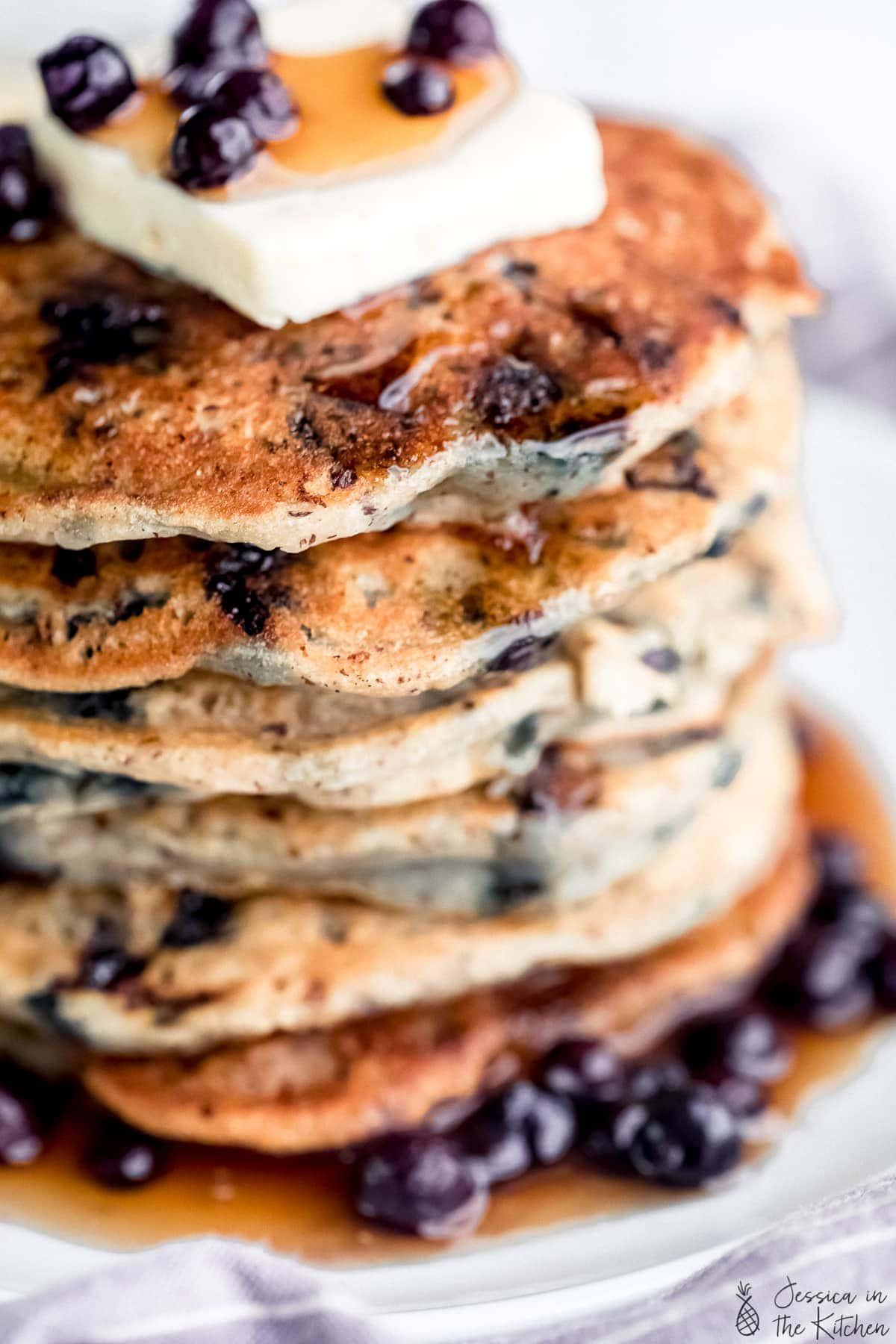 Close up of a stack of vegan pancakes.