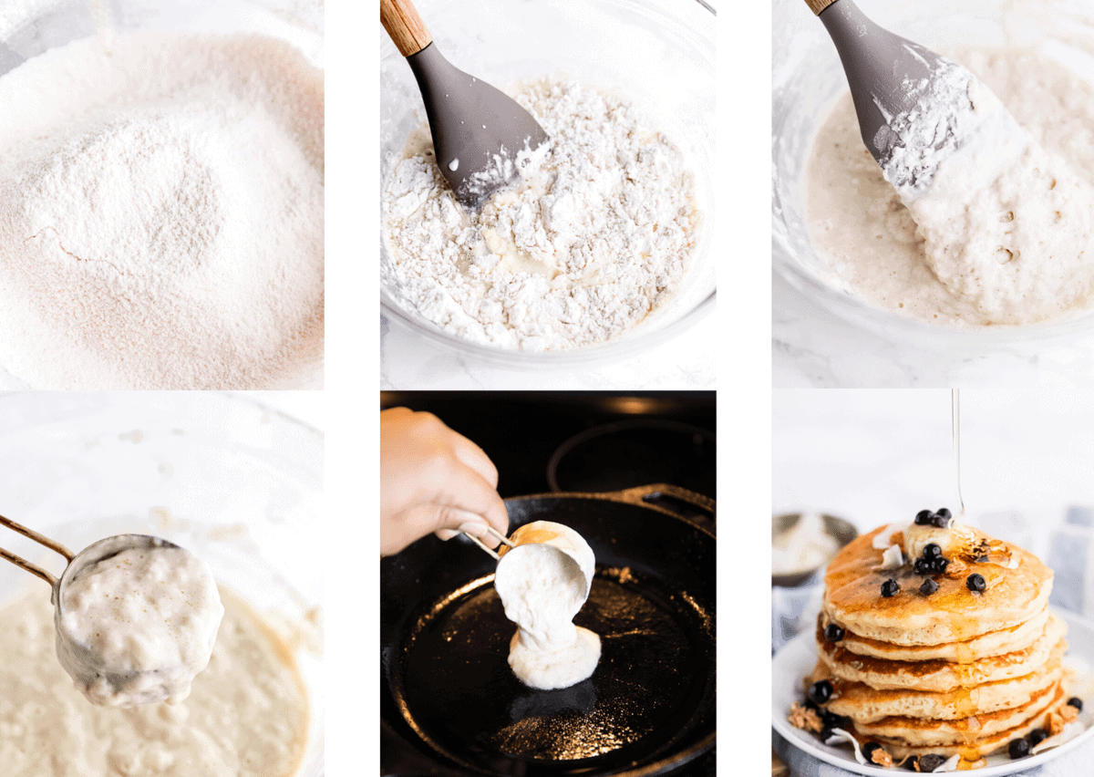 step by step photos of making pancakes including shots of sifted flour, lightly mixing the batter, a thick, lumpy batter, pouring the thick batter and end shot with maple syrup drizzled on top