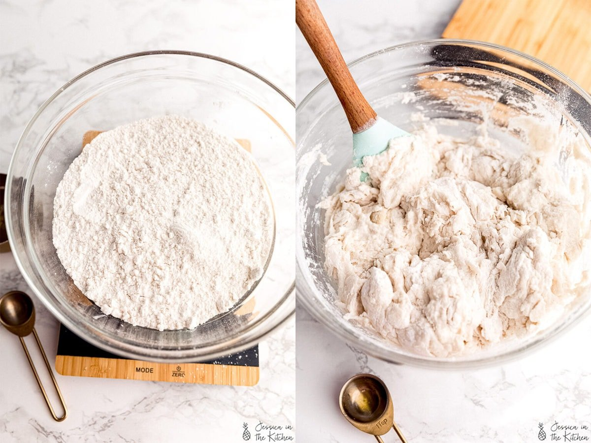step by step photos of no knead bread, the flour