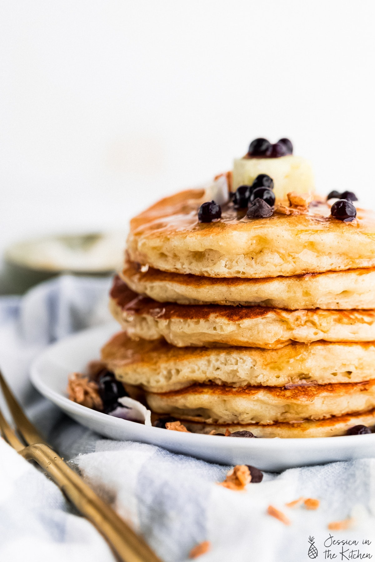 vegan pancakes in a stack at a cropped angle