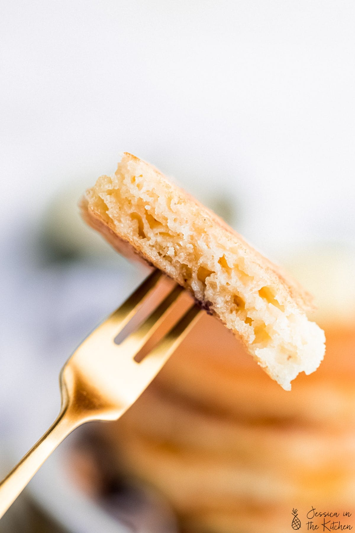 a slice of pancakes on a fork