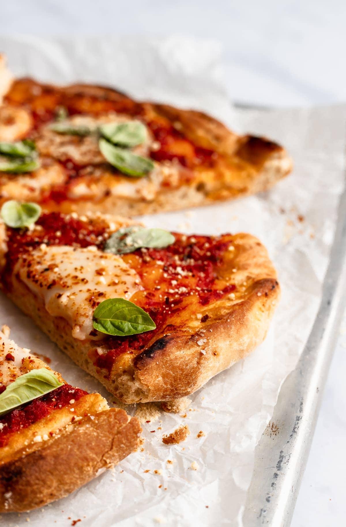 side angle shot of pizza