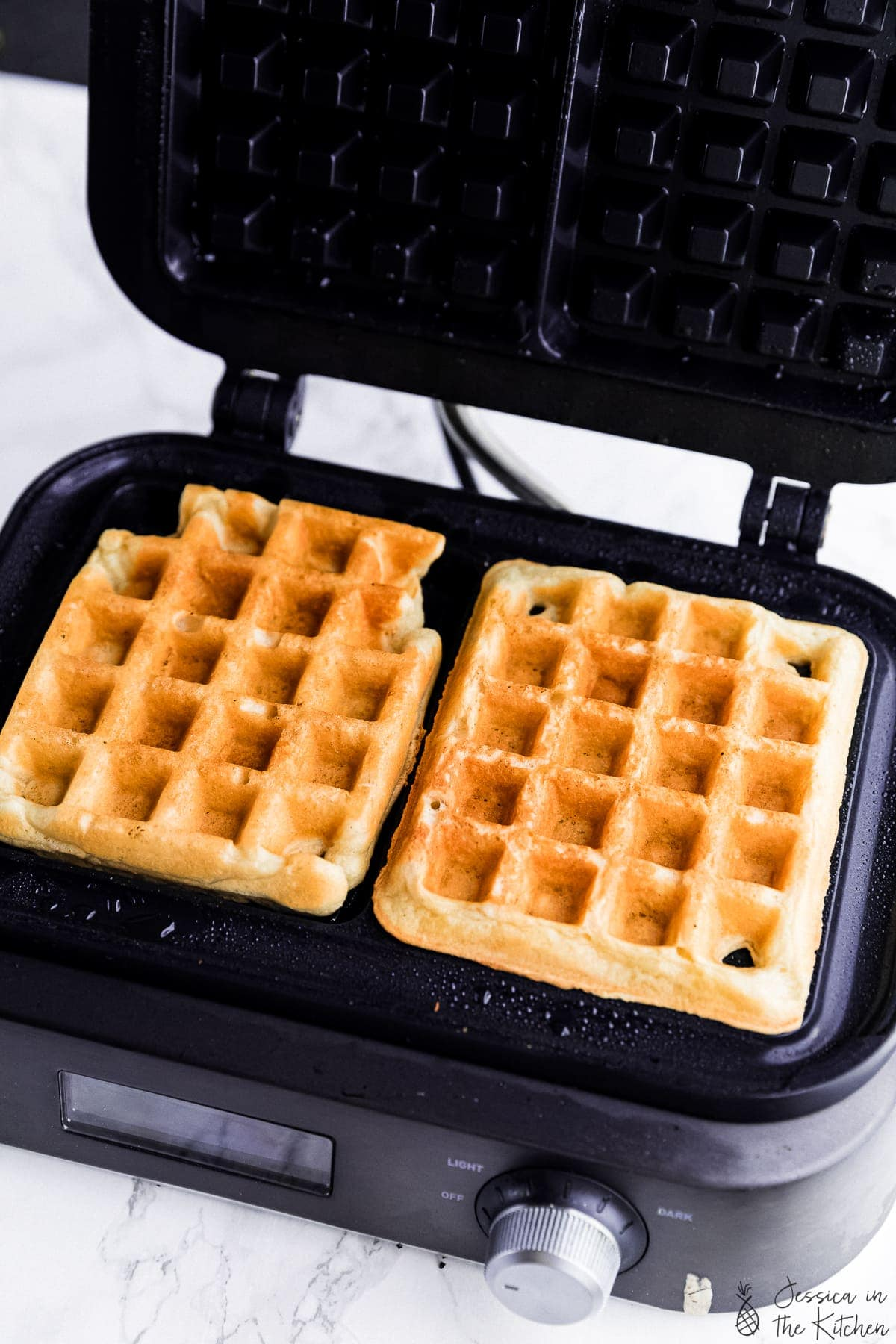 photo of made waffles in a waffle maker
