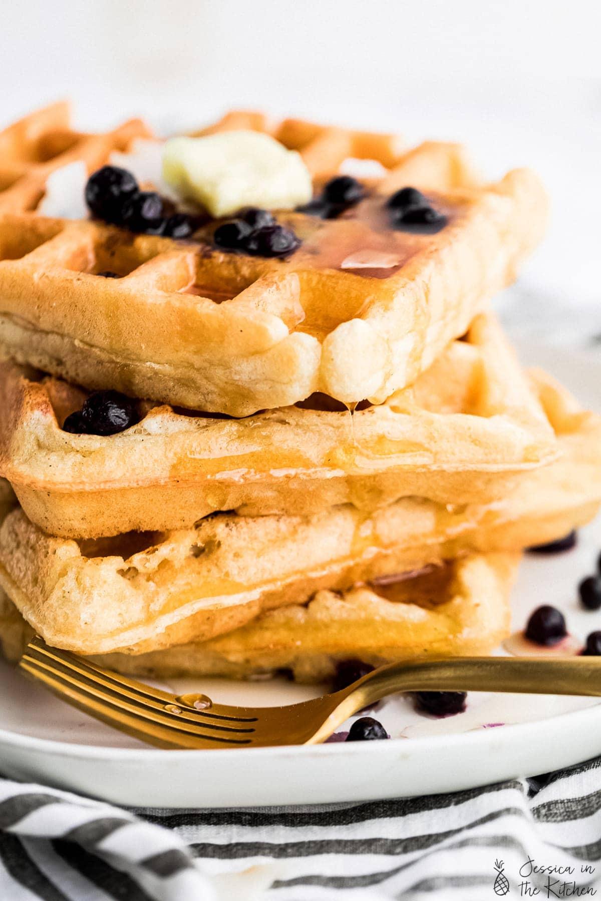 close up shot of stacked waffles