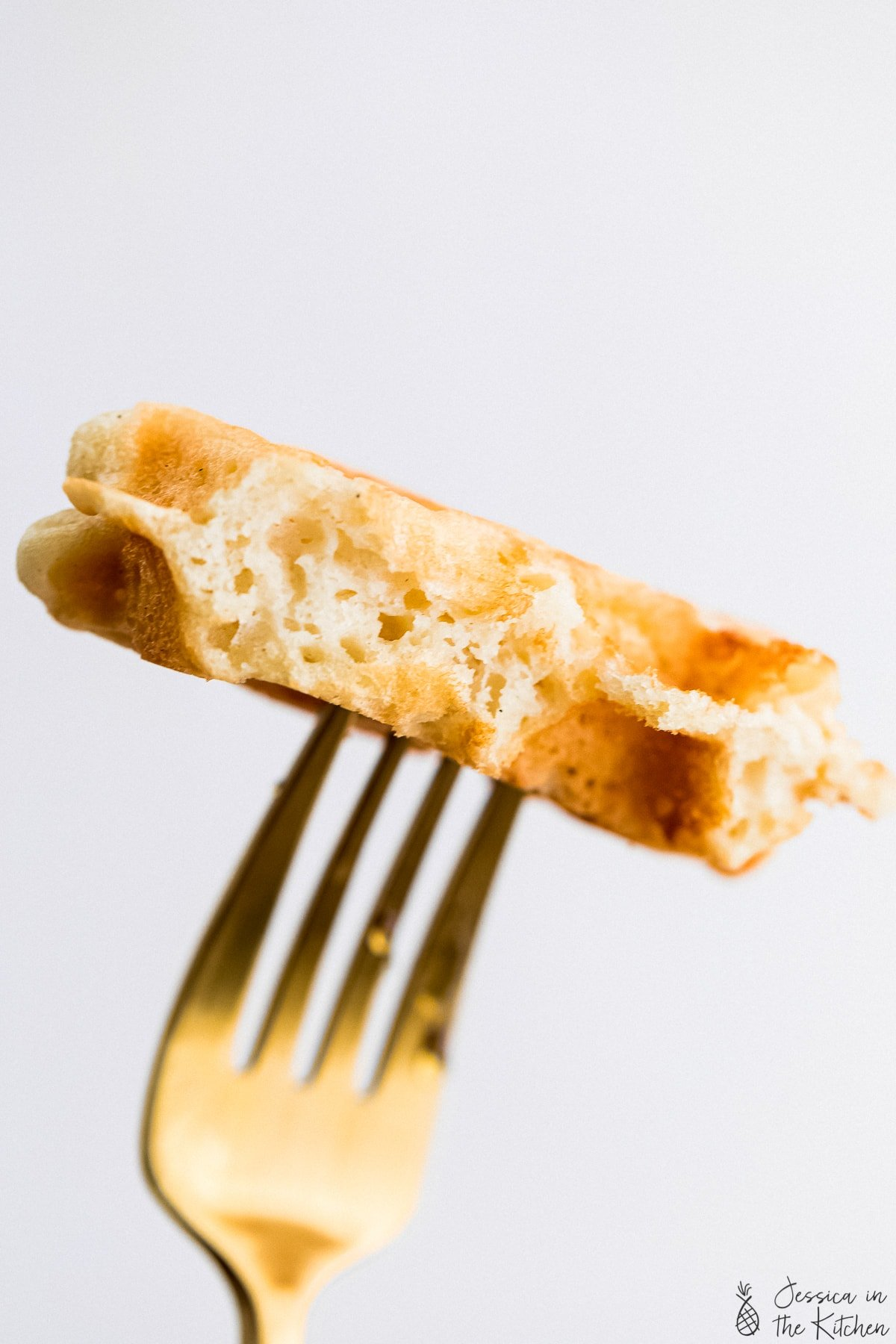 waffle piece on a fork