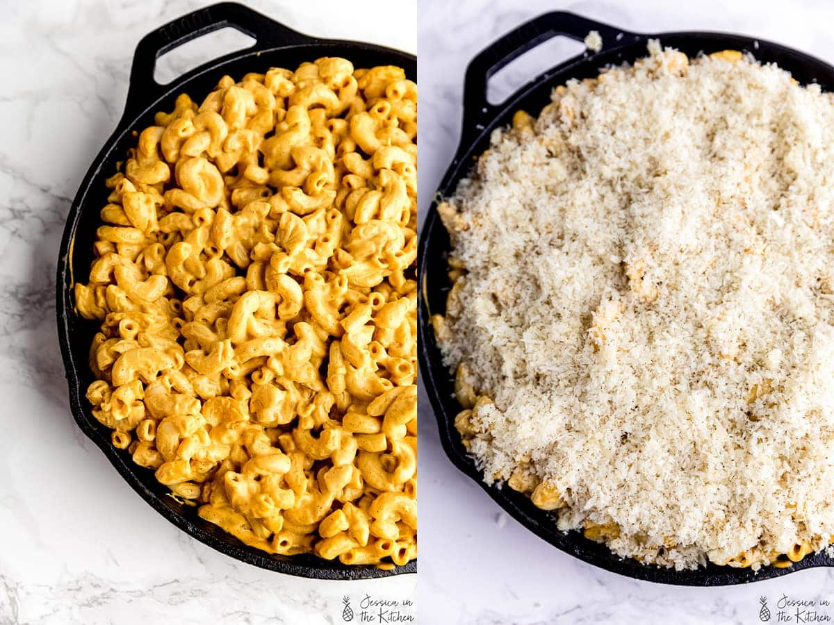 Side by side shots of unbaked Mac and cheese, and Mac and cheese with unbaked breadcrumbs topping on top.