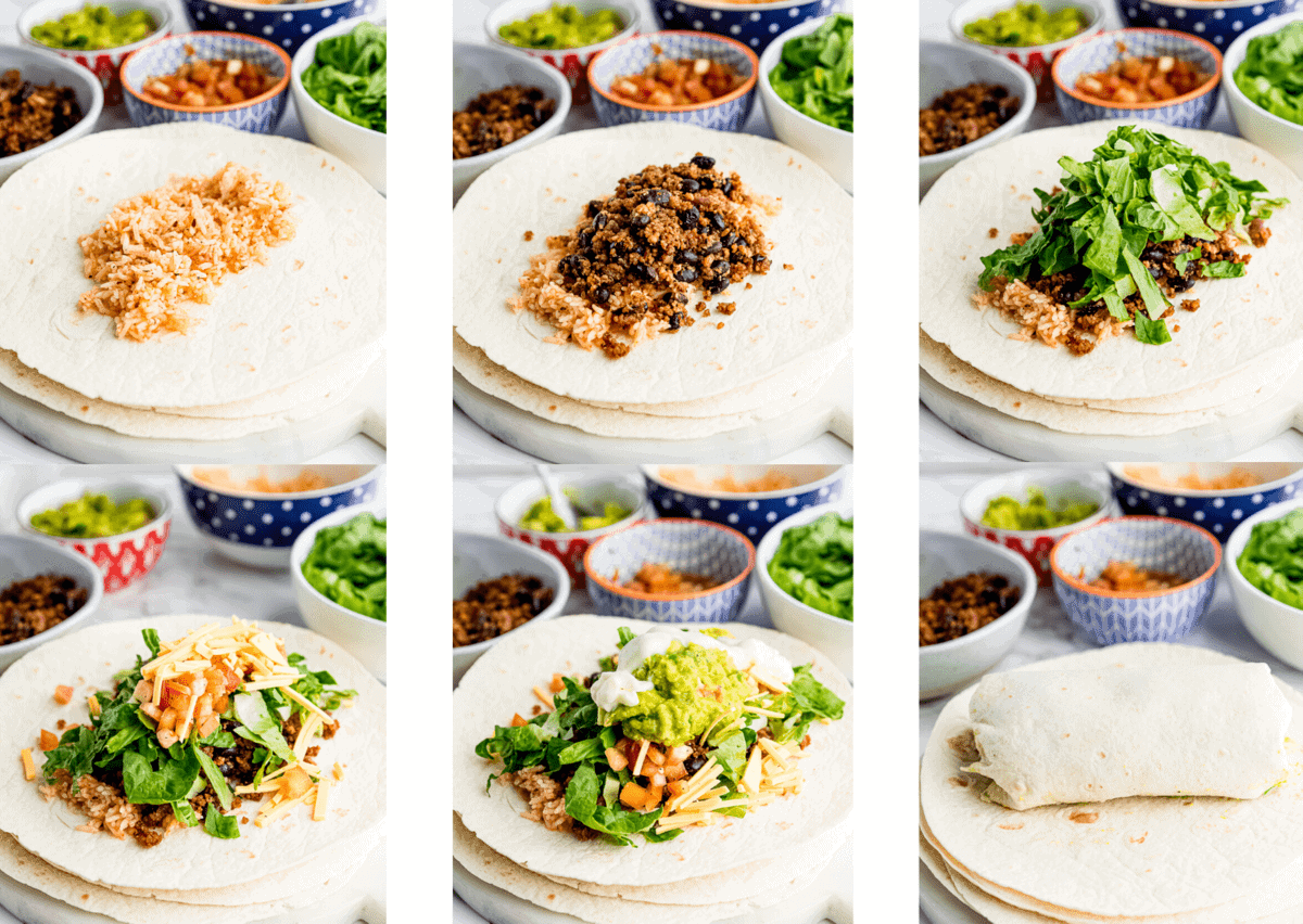 step by step photos on making a burrito that are also explained in instructions