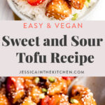 long pin sweet and sour tofu photos in a bowl and in pan