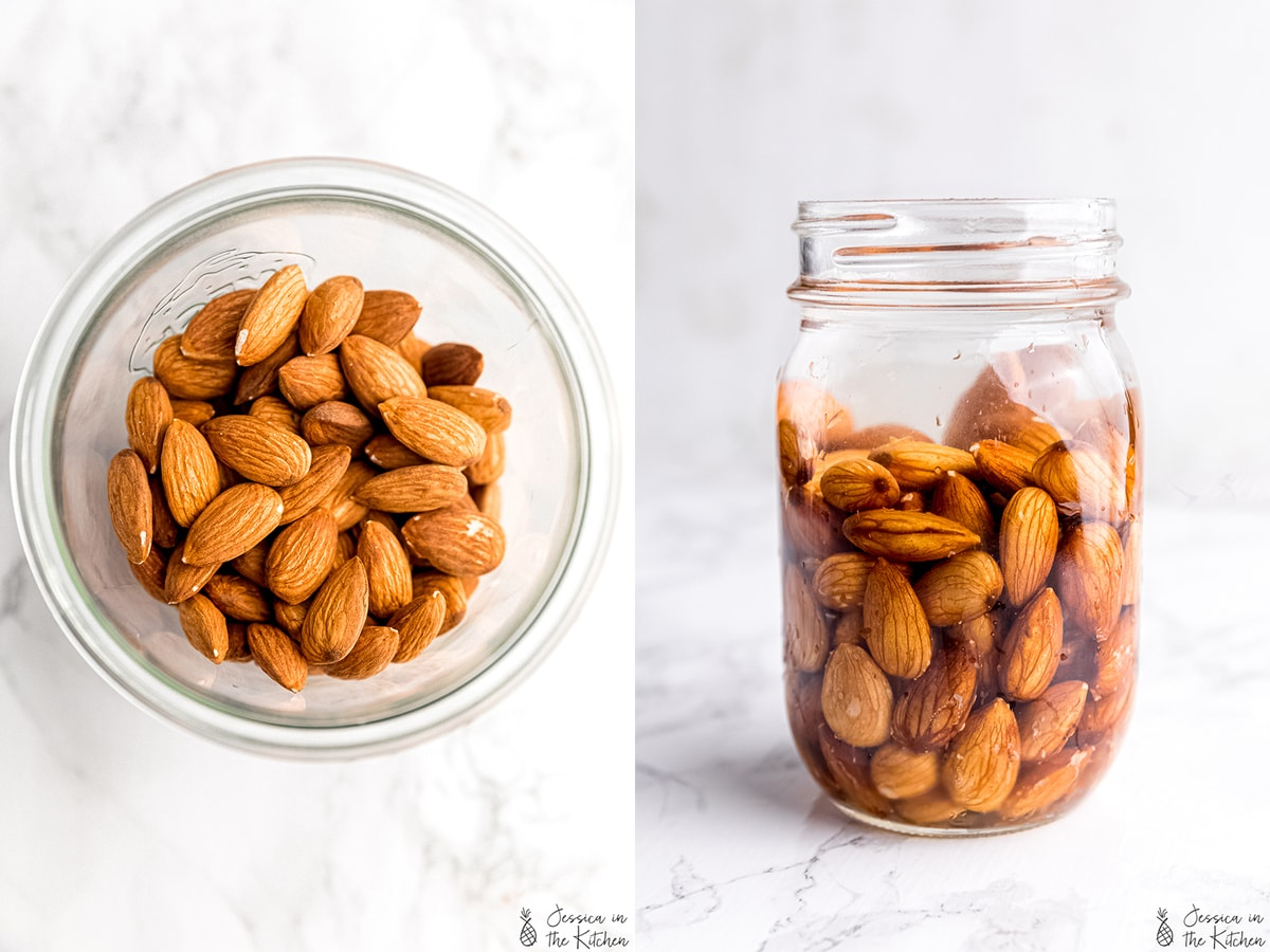 Side by side photos of raw almond and then soaked almonds.
