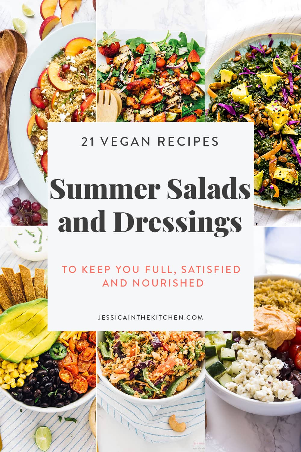 Graphic of six salad photos with graphic describing overall roundup of summer salads.