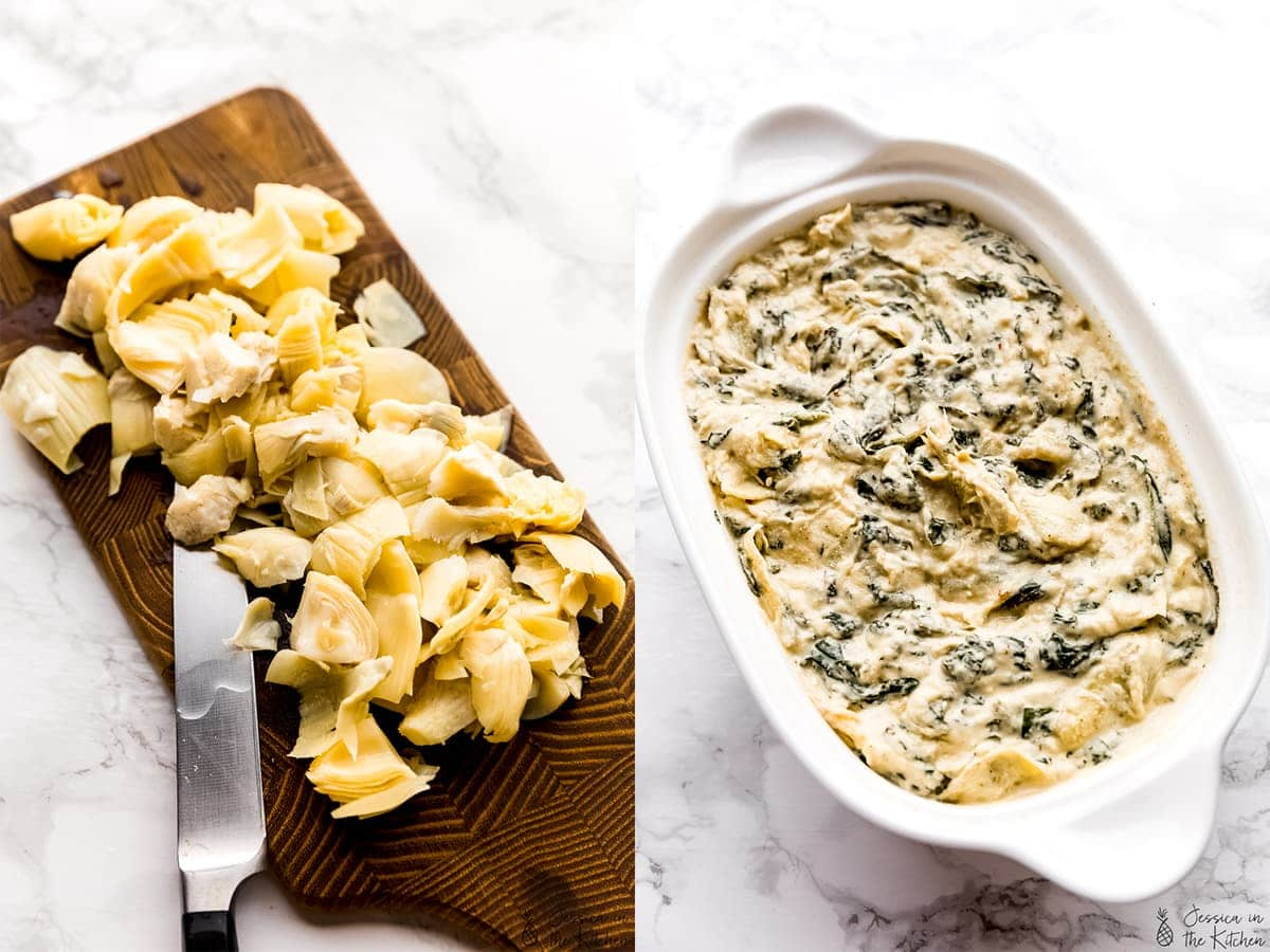 Step by step photos, chopped artichoke on a cutting board, and spinach artichoke dip before being baked.