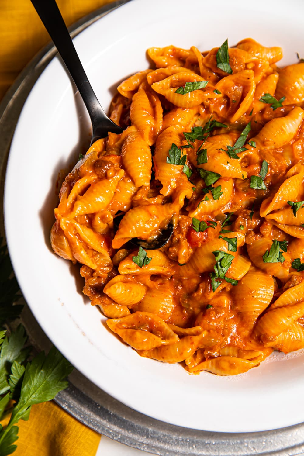 photo of creamy salsa pasta with a fork in the white bowl