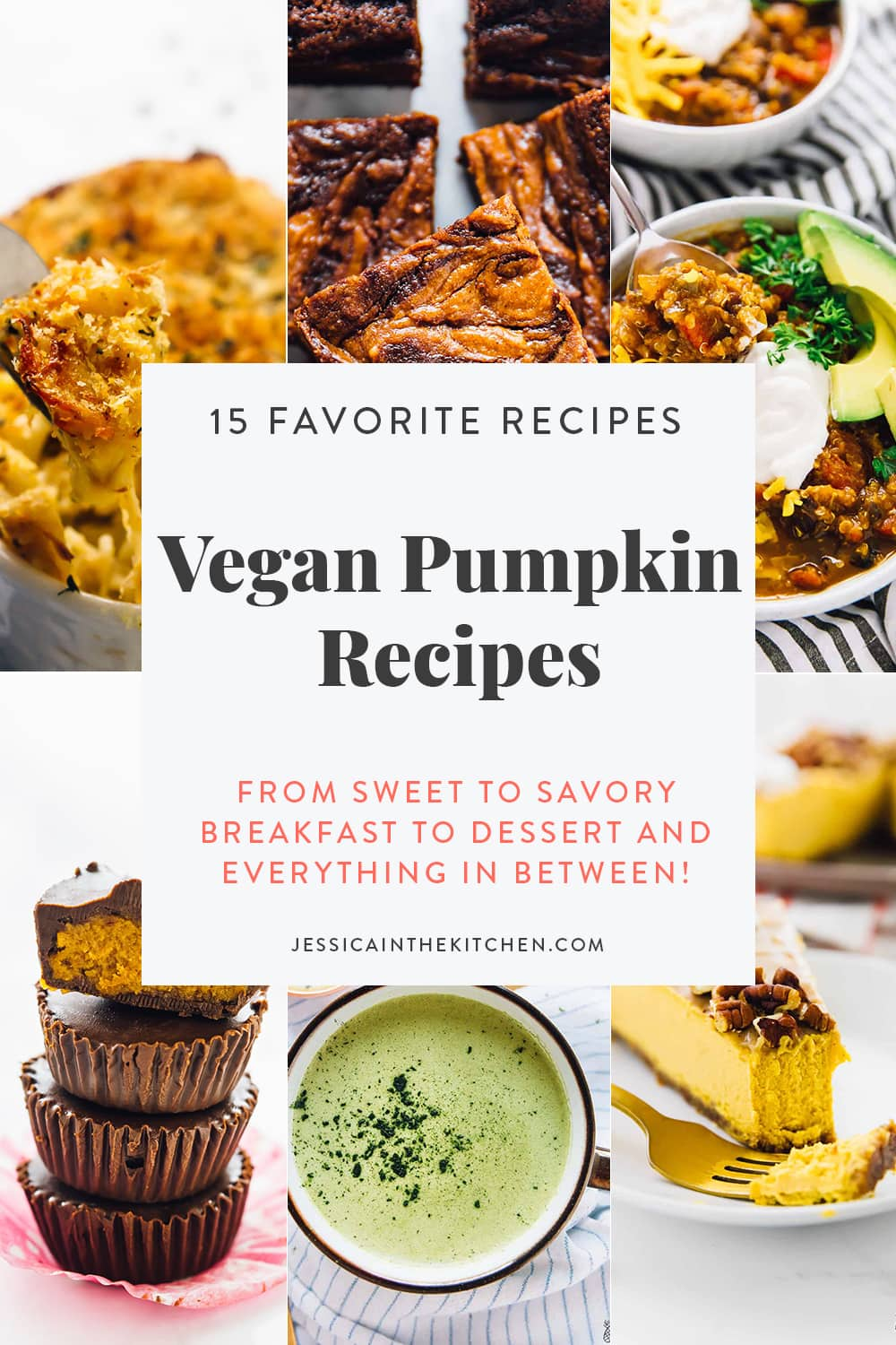 image of six photos of vegan pumpkin recipes with text for Pinterest for the sauce roundup describing the recipes
