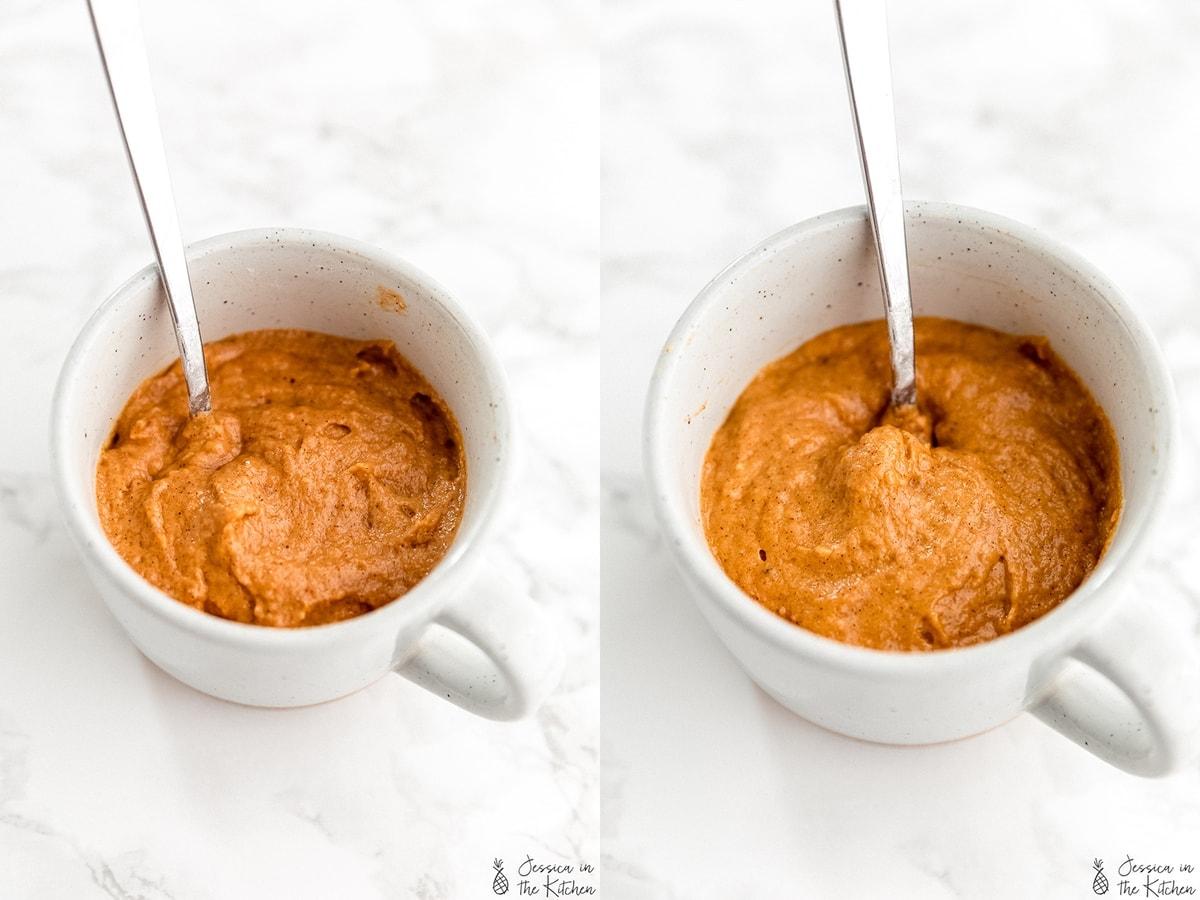 Prep photos of a mug cake with spoon.