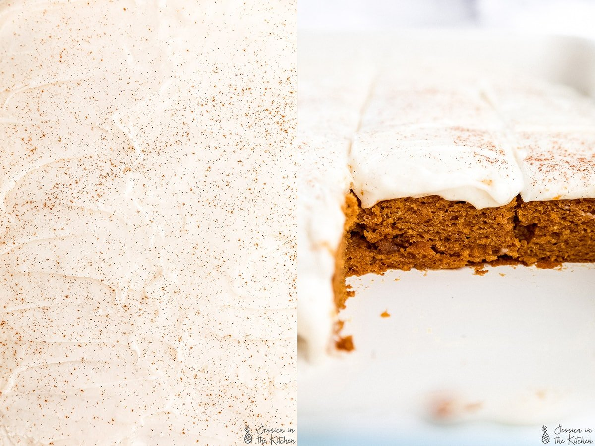 Side by side photos one of a frosted cake the other the inside of a cut sheet cake.