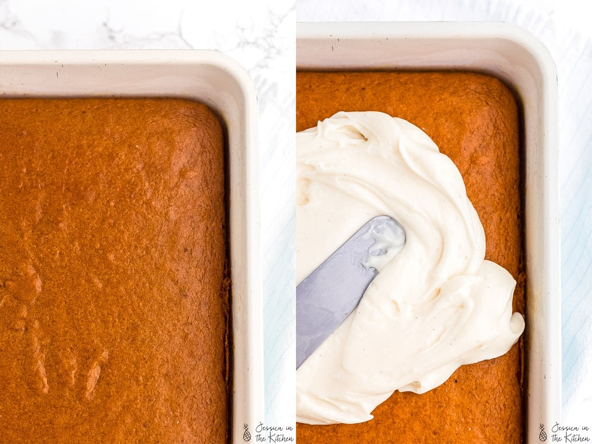 Side by side shots of a plain sheet cake and the other photo of frosting being spread onto the sheet cake.
