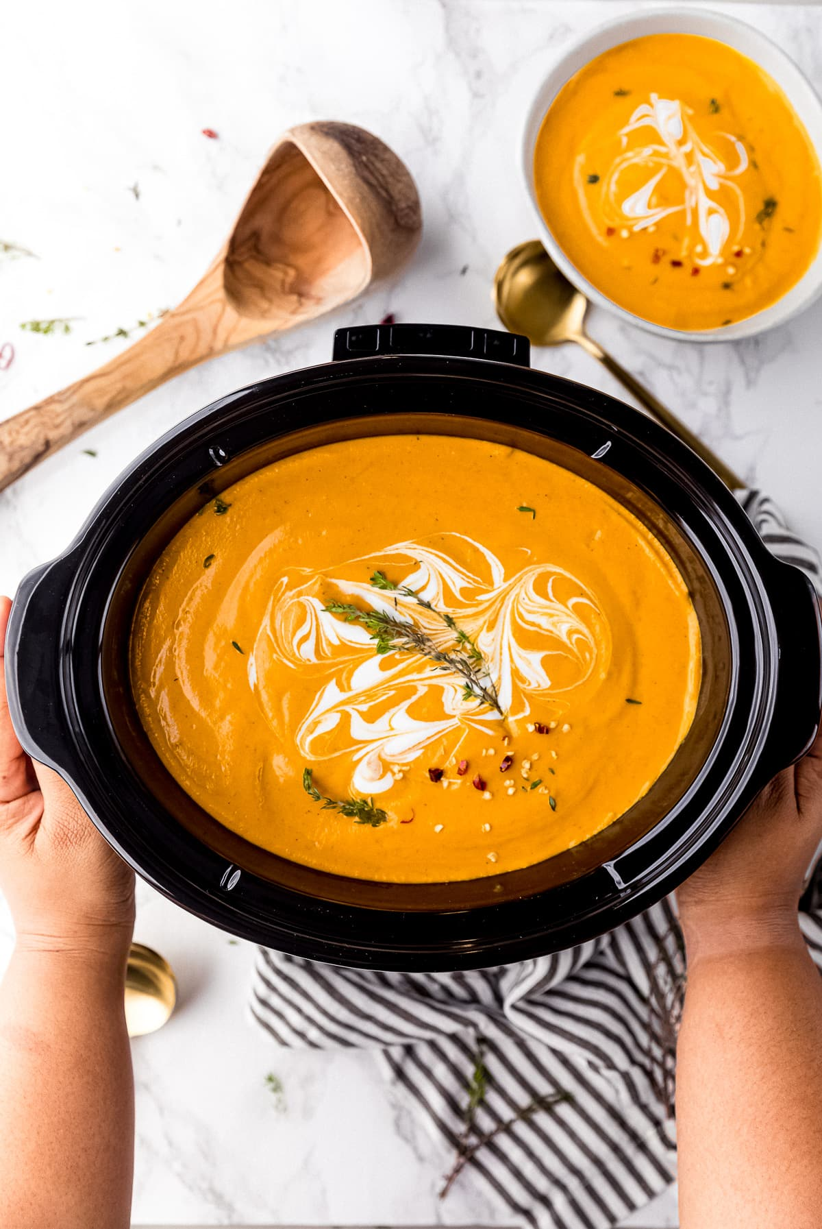 pumpkin soup in a crockpot