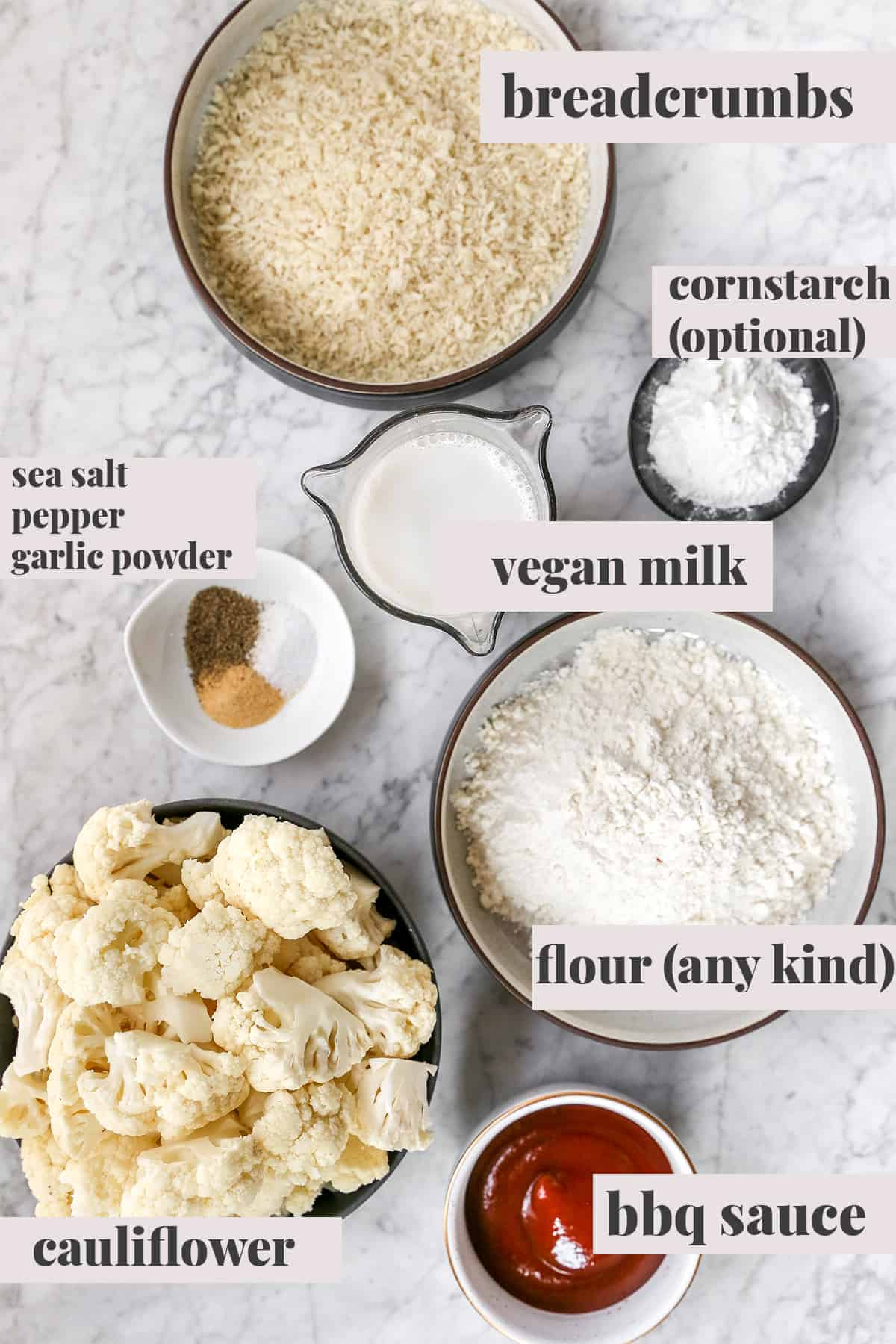 Ingredients for cauliflower wings.