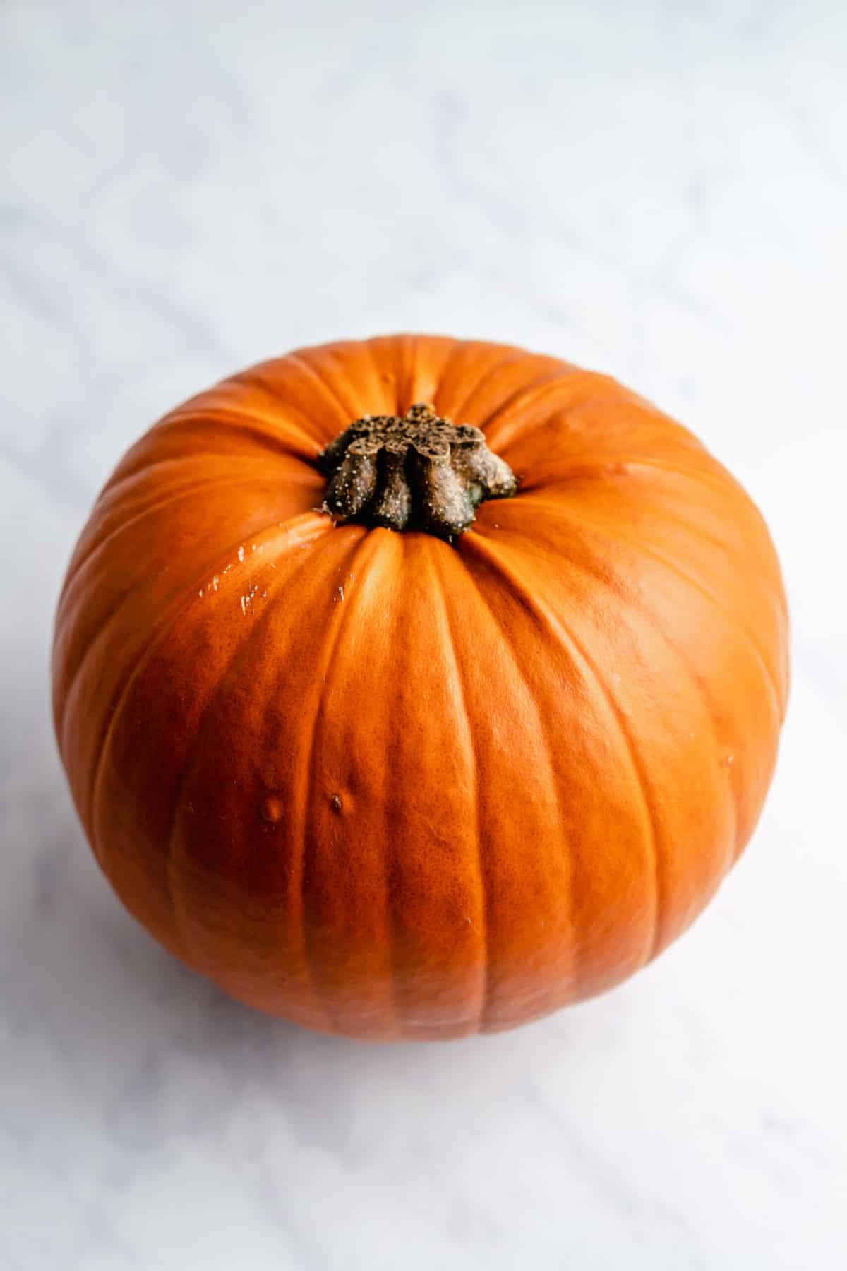 a whole sugar pumpkin