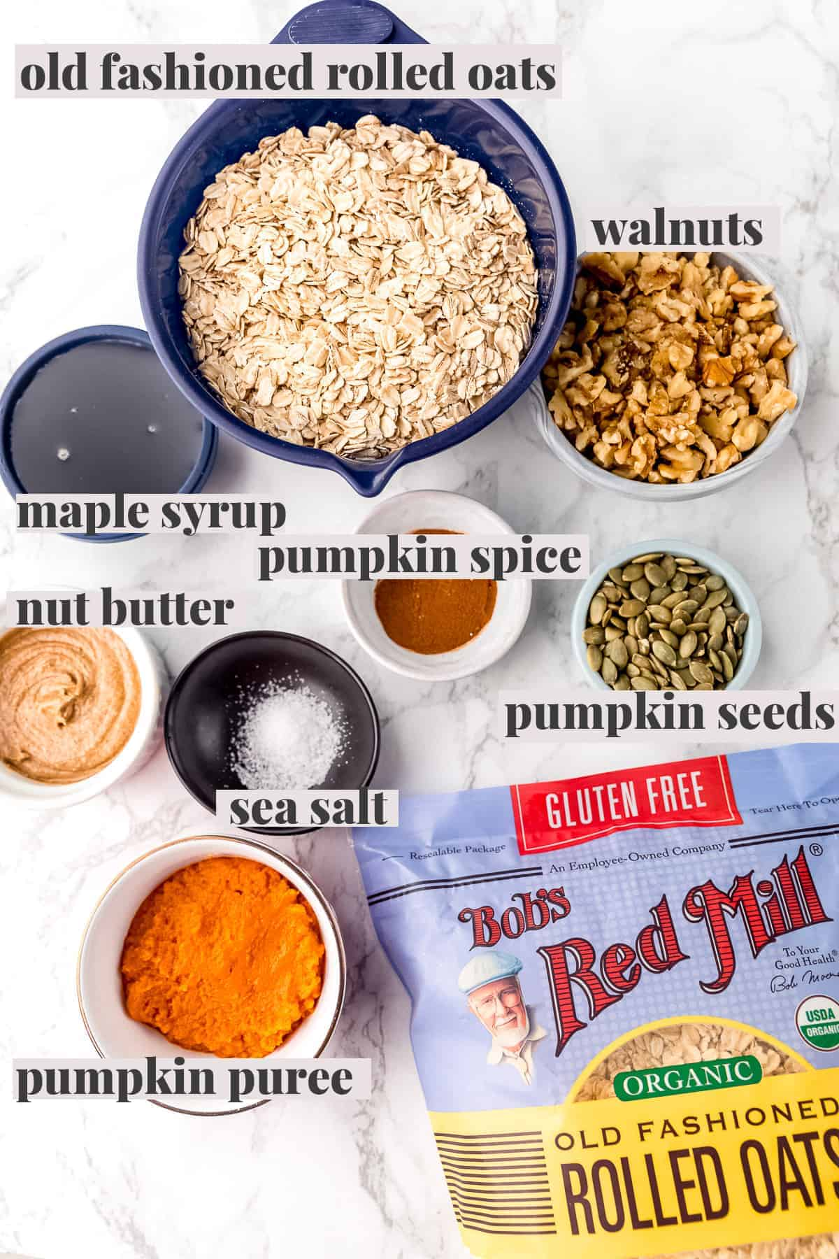 Ingredients for pumpkin granola with text.