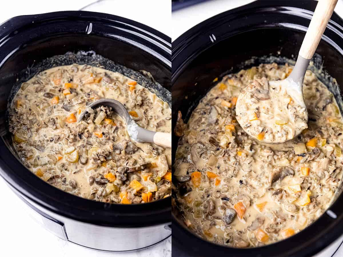 Side by side shots of creamy soup in a pot.