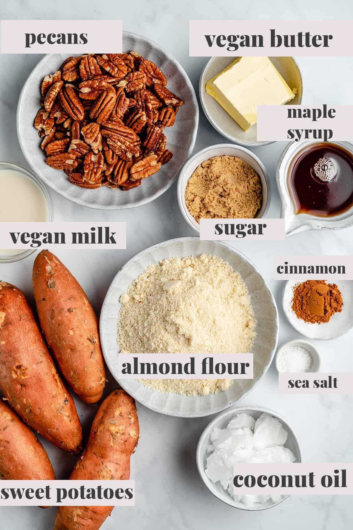 Sweet potato casserole ingredients.