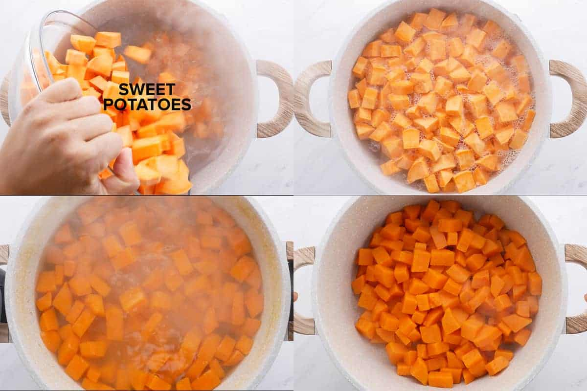 Cooking the sweet potatoes step by step photos of making recipe.