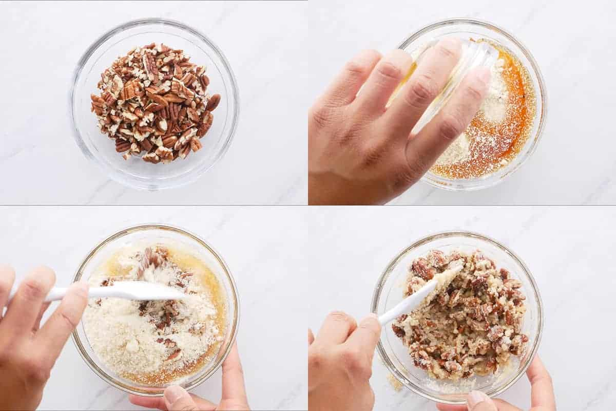 Step by step photos of mixing dry ingredients recipe.