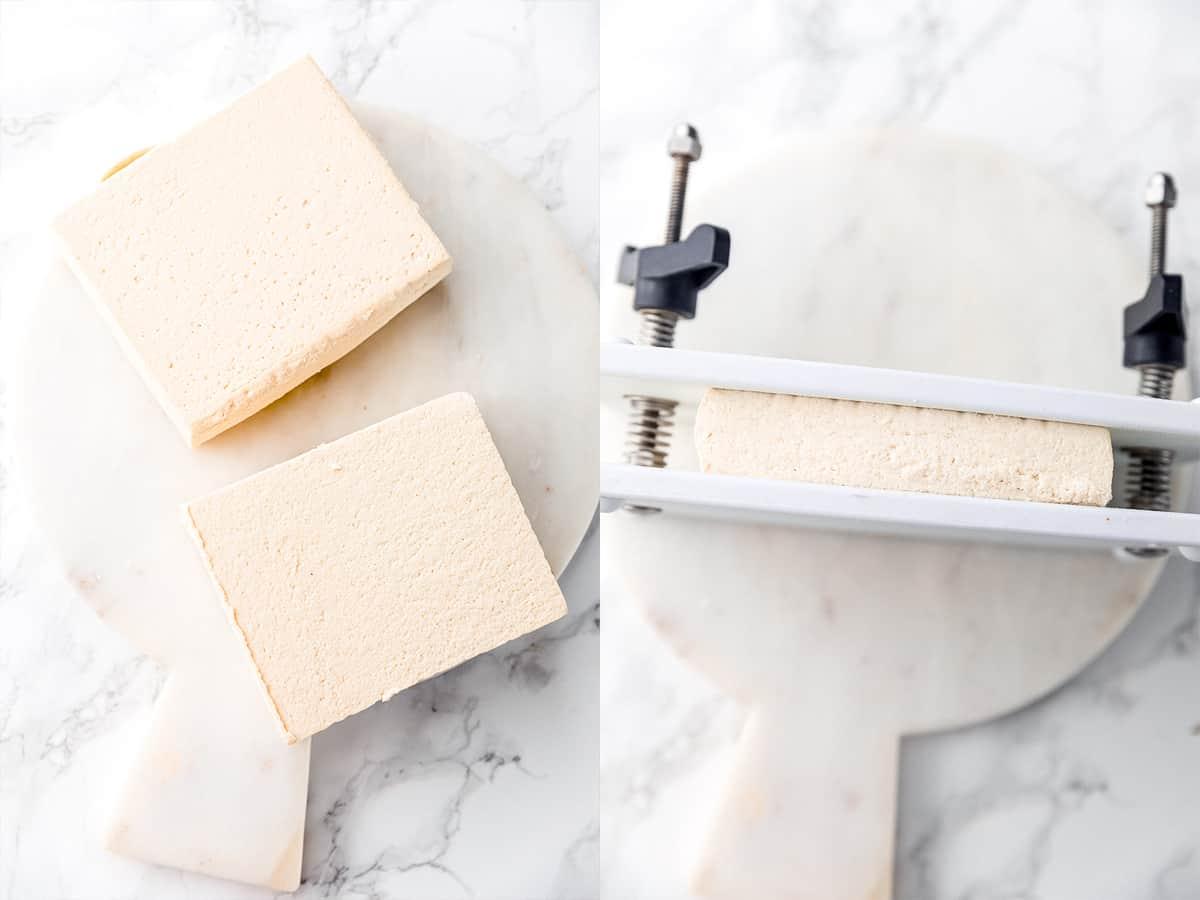 Tofu in a press.