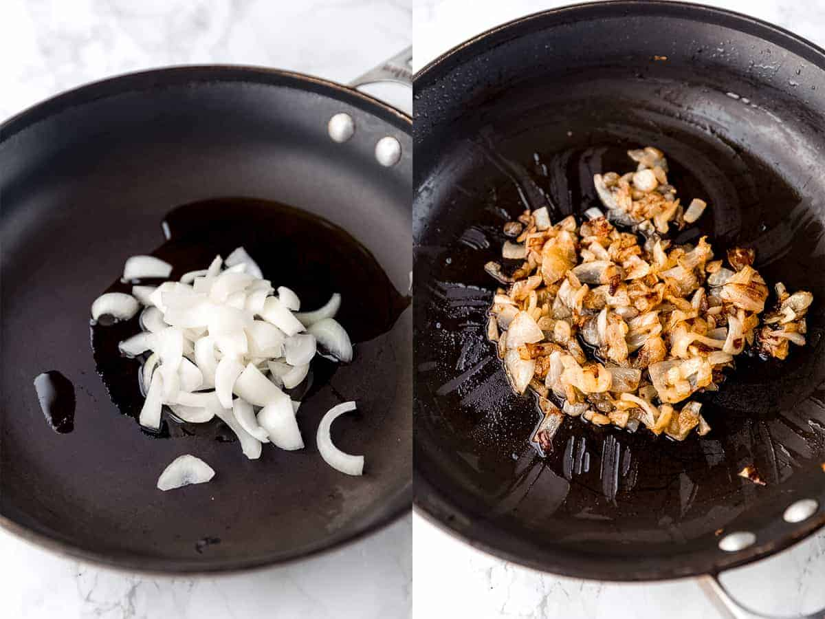 Onions cooking in a pan.