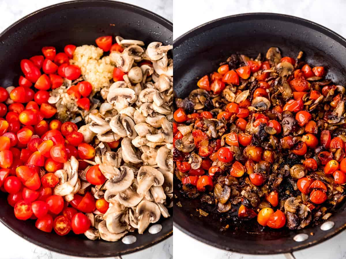 Top down shot of tomatoes and mushrooms in a pan cooking.
