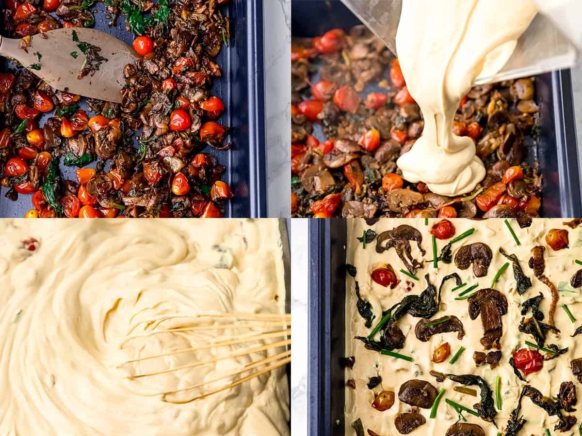 Process shots of pouring vegan frittata mix into a pan.