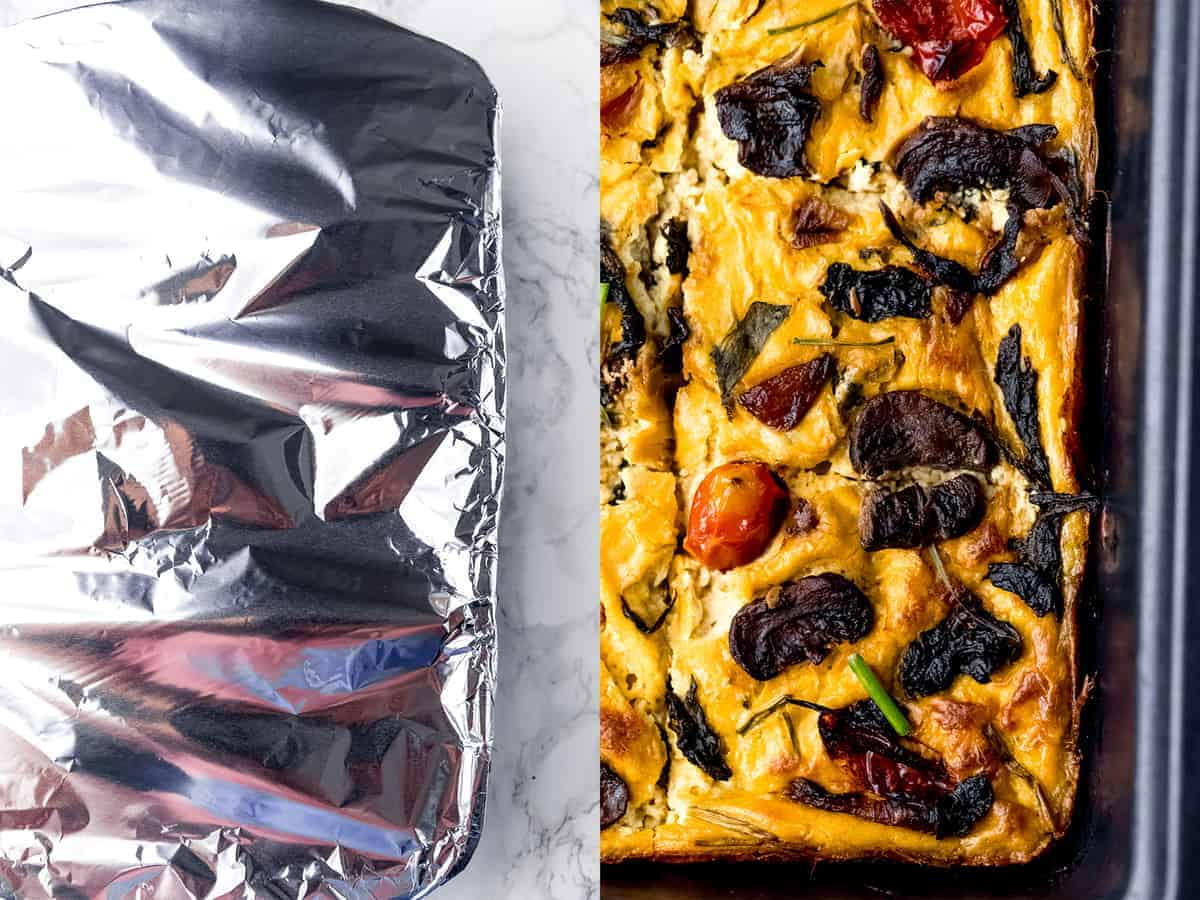 Frittata in a pan and covered with foil.
