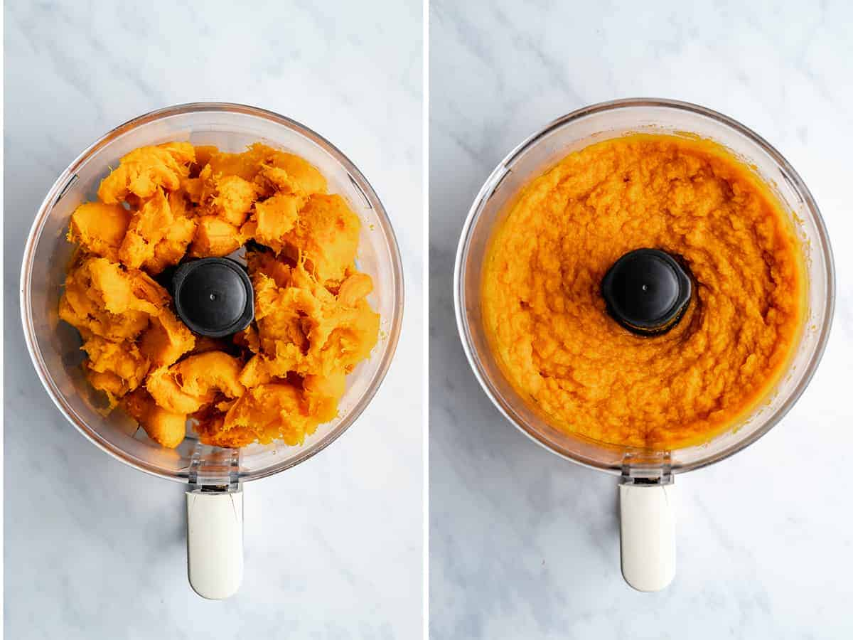 step by step of scooped out pumpkin puree in a food processor
