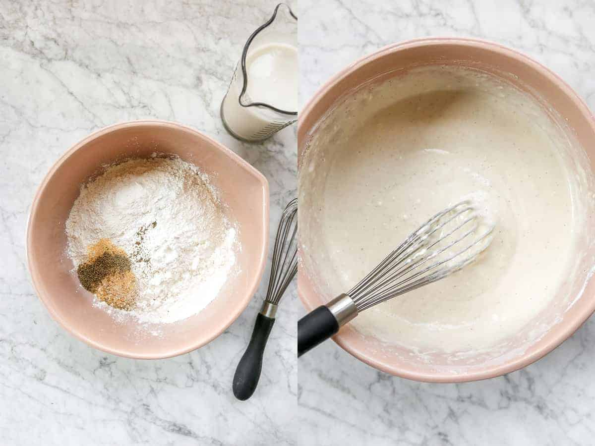 Two bowls, one with dry ingredients, another with wet ingredients.
