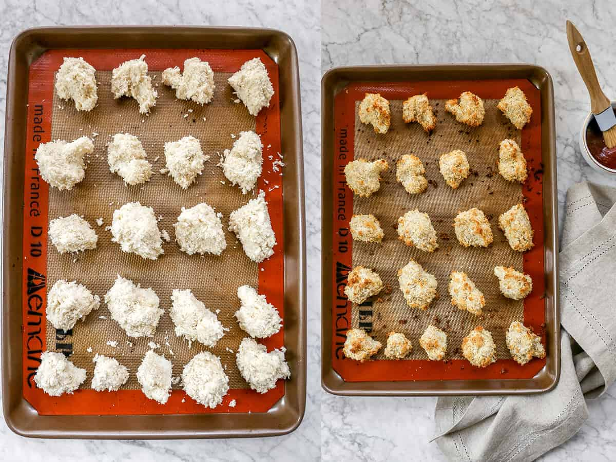 Cauliflower florets on a baking sheet, before and after baking.